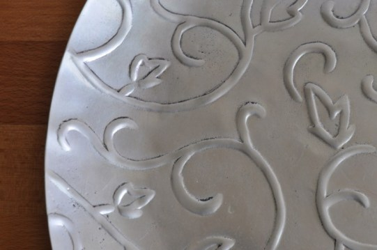 Big metal Tray / Plate with 3D floral ornament