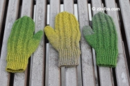 Wooly, colourful, hand-knitted mittens ''A pair of three''