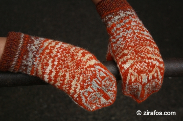 """Wooly, stylish mittens for cat lover """"Catscan"""""""