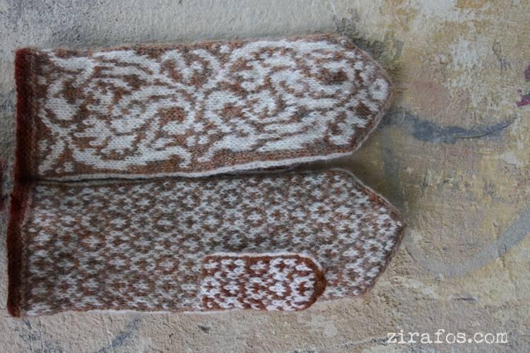 "Magic, hand-knitted, woolen mittens ""Winter Fairy-tale"""