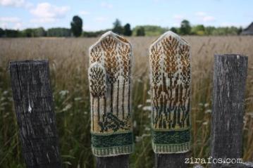 """Hand knitted, warm, woolen Mittens """"Grasshopper in My Palm"""""""