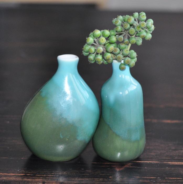 Three little green ceramic Vases