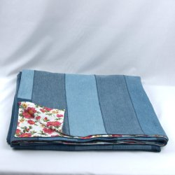 Quilted denim blanket, recycled blue jeans